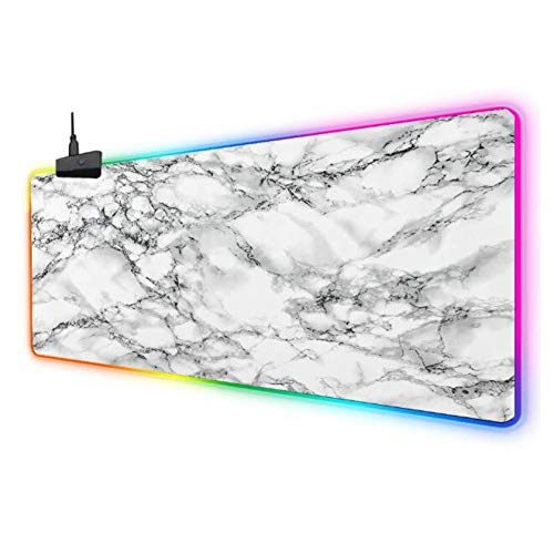 Mouse Pads White Marble Pattern Gaming RGB Led Mouse Pad Extra Large Extended XXL Mice Mat with Anti Slip Rubber Base USB Plug & Play 5001000Mm