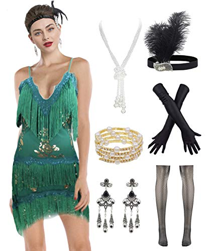Women's Flapper Dress 1920s Gatsby Tassel Sway Dance Cocktail Dress with 20s Accessories Set (Medium, Green)