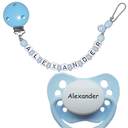Schnullireich Personalisierte Schnullerkette mit Namen, max. 10 Zeichen (Hellblau / Junge) + 1 NIP Schnuller mit Namen (6-18 Monate)