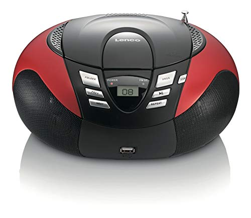 Lenco Radio mit CD/MP3-Player SCD-37 Tragbares UKW/MW Radio mit USB (Teleskopantenne, USB), rot
