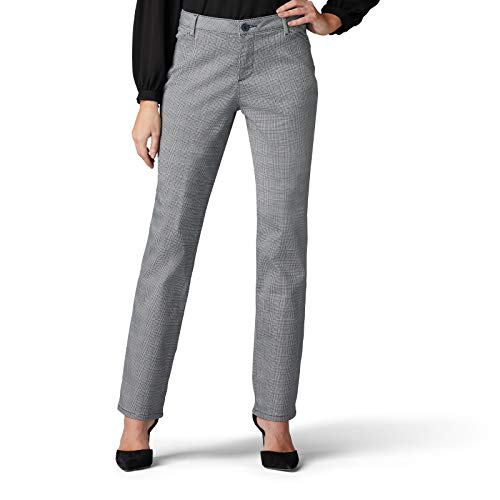 Lee Women's Relaxed Fit All Day Straight Leg Pant, Imperial Blue Mini Glenplaid, 14 Short