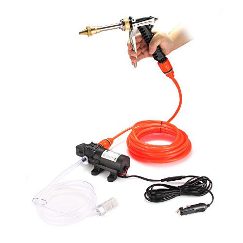 Houkiper Lavadora de coche, bomba de lavadora de alta presión, 12V 80W 130PSI Lavadora eléctrica de cebado automático Dispositivo de lavadora de coche para automóvil, mascota, ventana, riego y camping