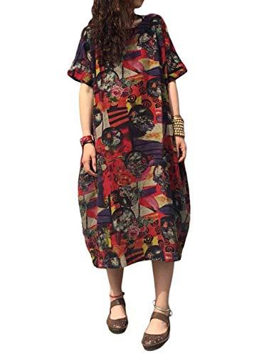 Vestidos De Túnica Africanos De Manga Corta De Verano De Talla Grande Vestido Midi De Mujer Borgoña 4XL