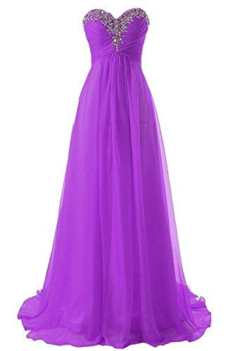 Abendkleider Ballkleider Lang Damen Brautjungfernkleid Festkleider Chiffon A Linie Violett EUR32