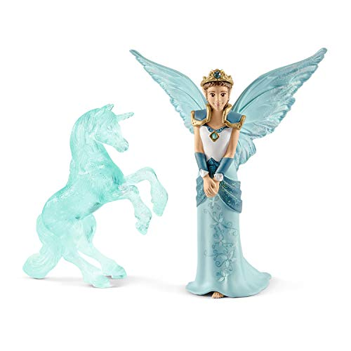 Schleich Colección Bayala Figura de Eyela con Escultura de Hielo de Unicornio , Personaje de la Película Bayala, 15 cm