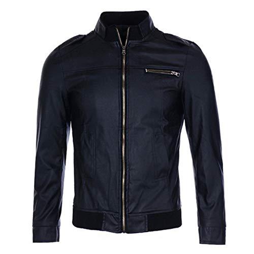 Loeay Hombres Stand Collar PU Chaqueta de Cuero Otoño Vintage Cremallera Moda Hombres Abrigo Motocicleta Streetwear Casual PU Chaqueta Abrigos