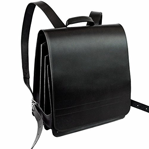 Sehr Großer Lederrucksack Lehrerrucksack Größe XL aus Leder, für Damen und Herren, Schwarz, Modell 670