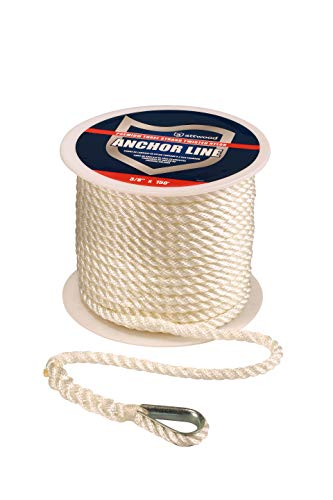 attwood 11708-1 Premium 3-Strand Twisted Nylon Twisted Anchor Line with Thimble, White, One Size
