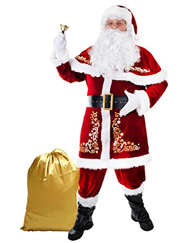 Ahititi Santa Costume for Men 12pcs Set Red Deluxe Velvet Christmas Party Cosplay for Adult Santa Claus Suit M
