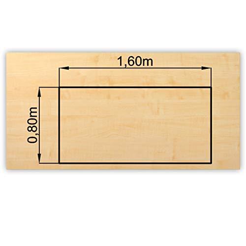 Bümö® stabile Tischplatte 2,5 cm stark - DIY Schreibtischplatte aus Holz | Bürotischplatte belastbar mit 120 kg | Spanholzplatte in vielen Formen...