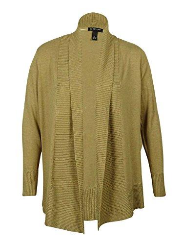 INC International Concepts Women's Shawl Collar Ribbed Trim Cardigan Sweater (Heather Bisque, 0X)