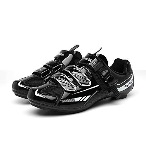 CHANGAN Upgrade Pro Zapatillas de Ciclismo de Carretera para spin, Ciclismo de Carretera, Tacos Zapatillas de Ciclismo MTB (Contiene Pares triples Calcetines de Ciclismo de Invierno Unisex Black-41