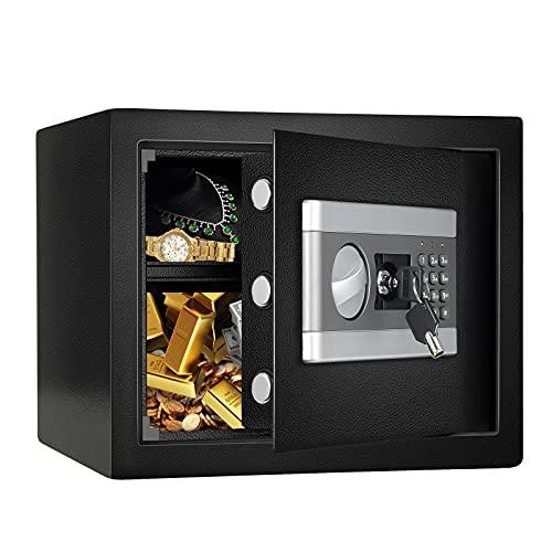 Fireproof Safe Cabinet Security Box, Digital Combination Lock Safe with Keypad LED Indicator, for Cash Money Jewelry Guns Cabinet (Black) (1.2 Cub)