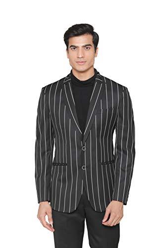 MANQ Men's Slim Fit Blazer (MBSTRIPE-18-38_Black & White_38)