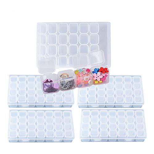 BUONDAC 4pcs Cajas de Almacenamiento de Plástico Transparente con 112 Compartimentos Organizador Piezas Pequeñas Pastillas Pintura Bordado Diamantes Cuentas Granos Accesorios Arte de Uñas