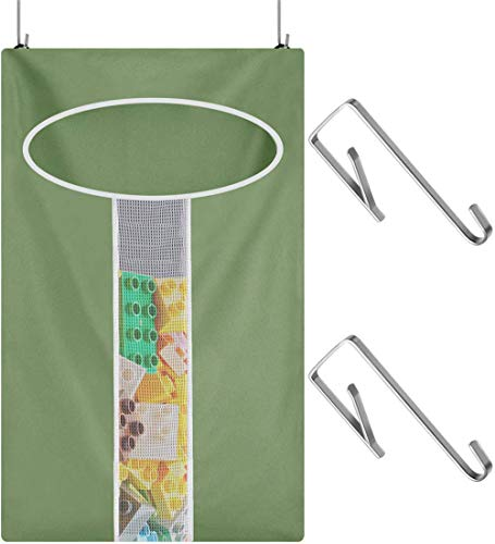 Laundry Nook,Door-Hanging Laundry Hamper with Stainless Steel Hooks, Gray Black