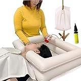 Bassin de lavage des cheveux de lit gonflable - Aide de liaison au lit de bain reliée au bassin de shampoing portable pour patient handicapé, âgé, patient alité, enceinte (Kit de 5)