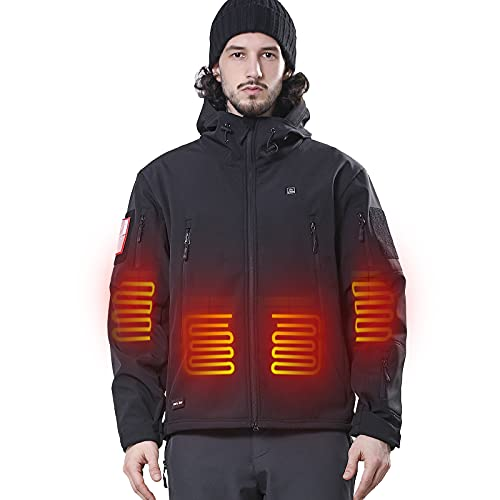 DEWBU Heated Jacket with Battery Pack Winter Outdoor Soft...