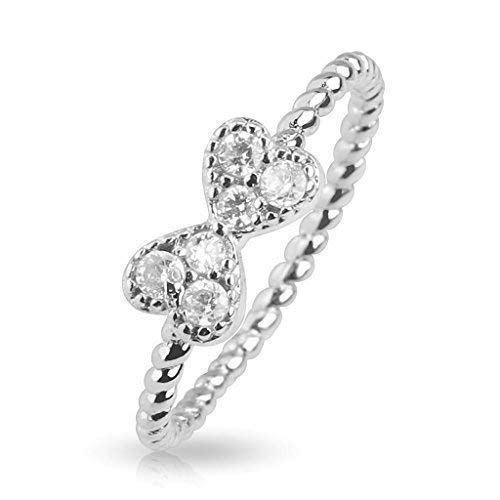 Tapsi´s Coolbodyart®| Finger Zehen Ring Messing Rhodiniert Silber Zirkonia Herz Schleife