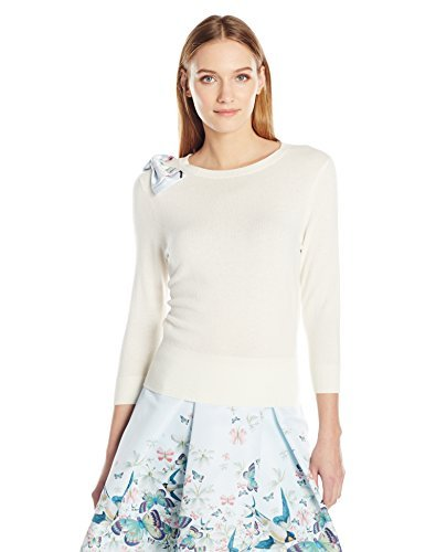 Ted Baker Women's Hessah Oriental Bloom Bow Jumper, Ivory, 4