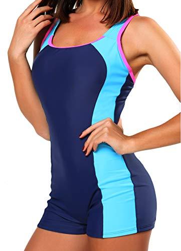 FITTOO Damen Vintage Figuroptimizer X-Rücken Einteiliger Sport Badeanzug mit Bein Blau S