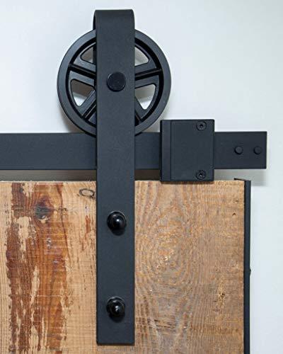 Barnwoodweb Schiebetürsystem Speichenrad 200cm Schiebetürbeschläge Speichenrad Komplett-Set für einen Lofttür