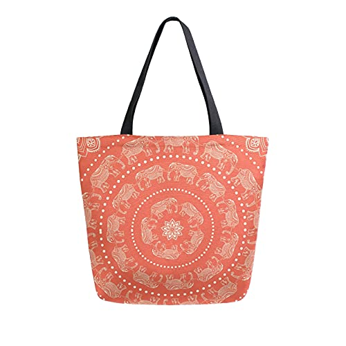 SunsetTrip - Bolsa de lona para mujer, diseño de elefante étnico, diseño de mandala de flores, bolsa de compras reutilizable grande con bolsillo interior