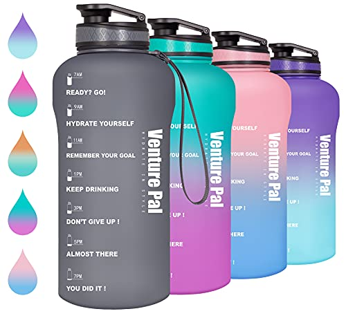Venture Pal Half Gallon/64oz Motivational Water Bottle with Time Marker & Removable Strainer, Leakproof BPA Free Water Jug to Remind You Drink More Water, Hydrate in Style-Gray