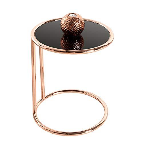 Mesa auxiliar - Art Deco - de cromo y cristal en color cobre/negro -mesilla #36061