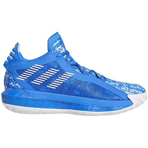 adidas Dame 6 Basketball Shoes (White/Blk/Blue, Numeric_14)