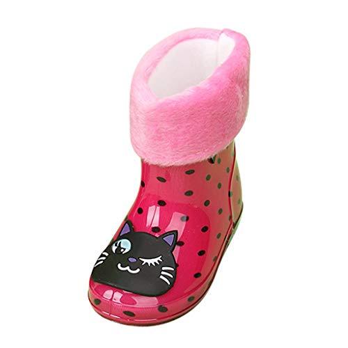 WEXCV Kinder Baby Schuhe Jungen Mädchen Gummistiefel aus Naturkautschuk Nette Unisex Plus Samt Regenstiefel Trendige rutschfest Wasserdicht Bunte Cartoon Muster Stiefel