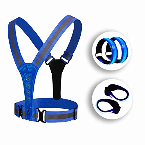 LOOMUSUN LED Reflective Running Vest Gear Set:1 Reflective Safety Vest, 2 LED Reflective Armbands, 2 Shoe Clips, High Visibility Safety Gear for Men/Women, Night Running, Walking, Cycling, Hiking