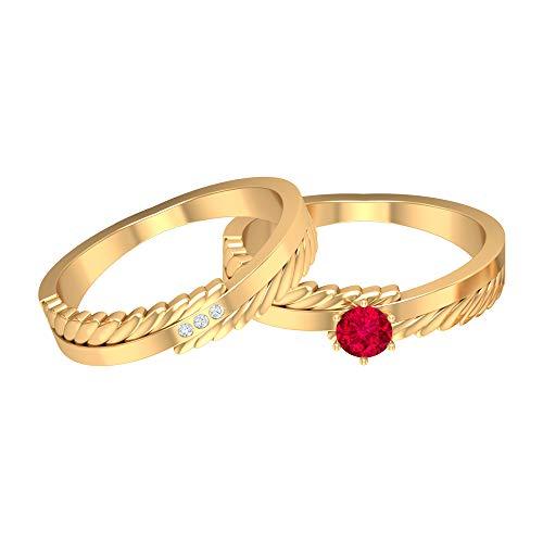 Rosec Jewels 14 quilates oro amarillo redonda Red Ruby Diamond
