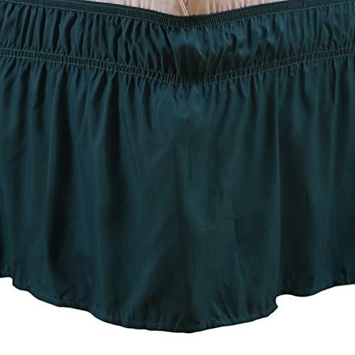 """YOUJIAA Elástico Falda de Cama con Volantes Color Sólido a Prueba de Polvo Ajustable Cenefa de Cama (Verde Oscuro #3, 60 * 80"""")"""