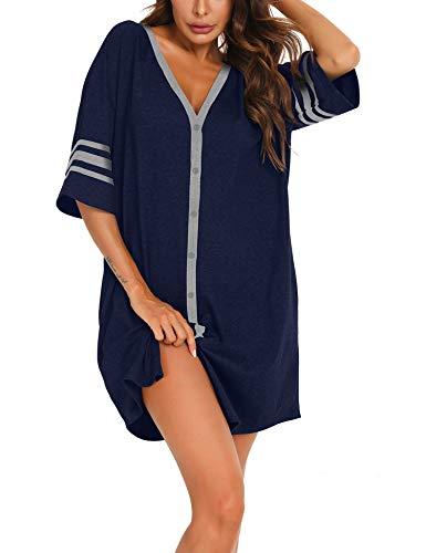 MiiKARE Damen Nachthemd mit halben Ärmeln und Knopfleiste Nachtwäsche mit V-Ausschnitt Boyfriend Schlafhemd,Stillen Pyjamakleid - Navy Blau,Größe:XL