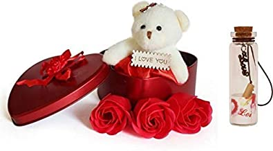 Lata Red Heart Shape Box with Flowers, Message Bottle and Cute Teddy (Multi-Color, Combo of 3)