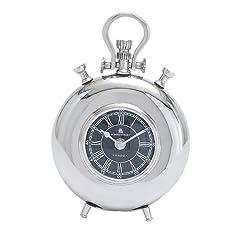 Deco 79 27857 Aluminum Nickel Table Clock, 8 x 6