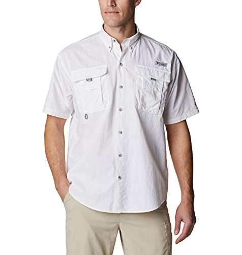 Columbia Men's PFG Bahama II Short Sleeve Shirt, Breathable, UV Protection, White/Realtree Edge, Medium