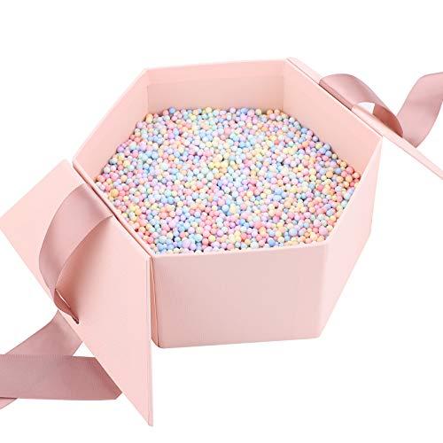 Geschenkbox mit Schleife, dekorative Leckerli-Boxen mit Deckel, sechseckig Karton Geschenke Kosmetik Schmuck Präsentationsbox für Weihnachten Geburtstag Urlaub Hochzeit Valentinstag Jahrestag, Rosa