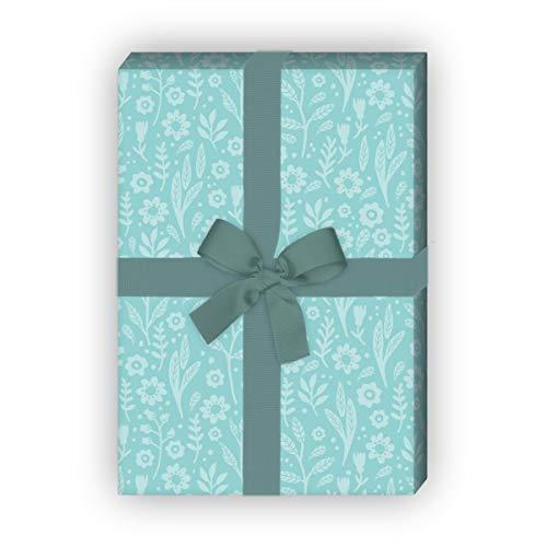 Kartenkaufrausch mooie bloemetjes cadeaupapier set met bloemenklei in toon voor leuke cadeauverpakking 32 x 48 cm, 4 vellen voor het inpakken van verjaardagen, bruiloft, decoratiepapier, lichtblauw
