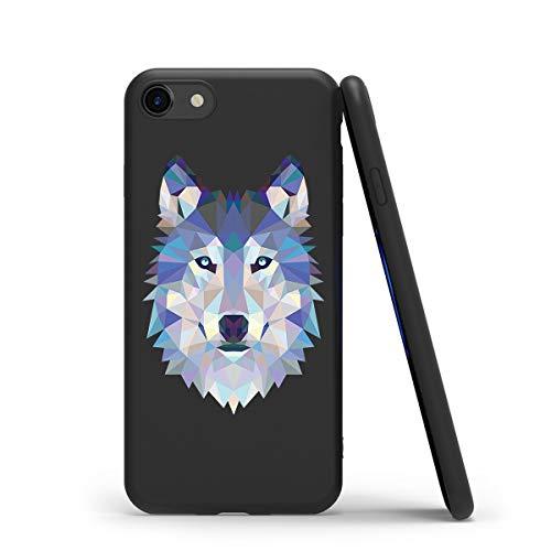 Zhuofan Plus Cover iPhone SE 2020/7/8, Custodia Silicone Nero Soft TPU Gel con Design Print Pattern AntiGraffio Antiurto Protactive Cover per iPhone SE 2020/7/8, Lupo