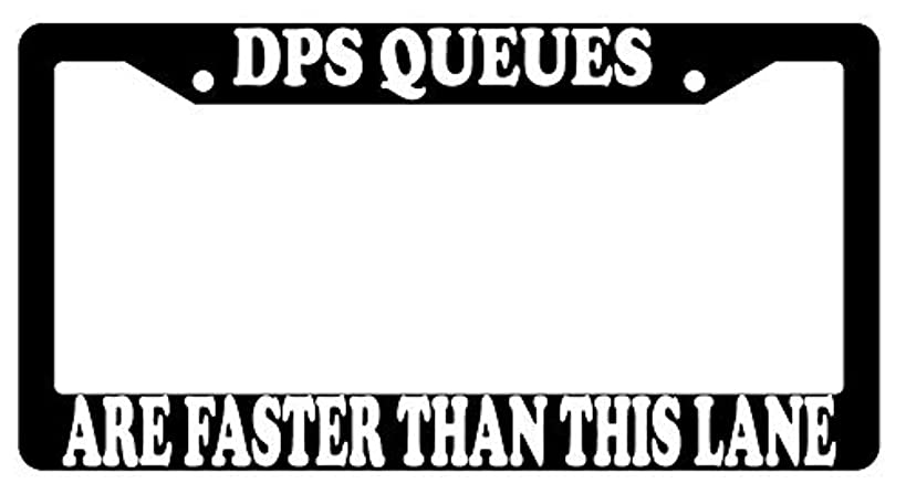 GSF Frames DPS Queues are Faster Than This Lane Black Plastic License Plate Frame Video Game Theme