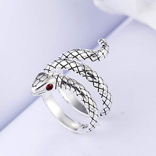 Mayelia - Anello a forma di serpente, regolabile, in argento, per donne e ragazze