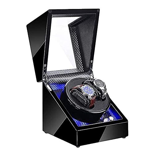 erddcbb Joyero para Mujer Doble enrollador para Relojes automáticos con luz LED Azul Pintura de Piano Negra Adaptador de CA Exterior y batería Alta Gama/Fibra de Carbono Negro