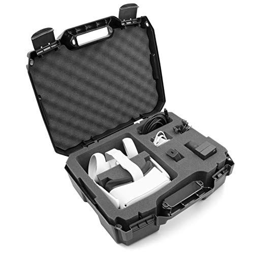 CASEMATIX Hard Shell Travel Case Compatible with Oculus Quest Vr Headset 128gb 64gb and Accessories with Custom Compartments