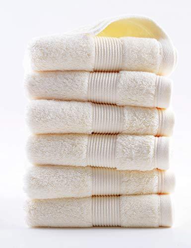lvse 100% Egipcio de algodón de Fibra Larga,la Mejor Toalla de Mano(Paquete de 1 Pieza),606GSM,orgánico,Resistente a la decoloración esponjosa,Suave y Absorbente para Barra y baño(36x78cm,170g,Beige)