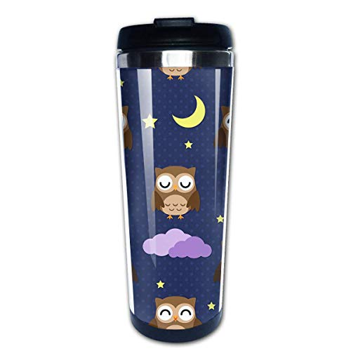 pengyong Coffee Cup Tumbler Mug Stainless Steel Liner,Night Owl Fashion Office Mug 400 Ml Water Bottles Portable Thermos Vacuum Flask
