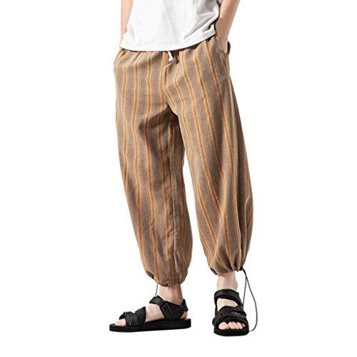 ZOODF Pantalone Hombre Pantalones Largos Sueltos Transpirables de Lino Casual para Hombres Pantalones Rectos de Color Liso Pants Jeans Harem