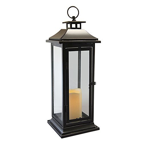 Lumabase 90401 Traditional Metal Lantern with LED Candle, Black