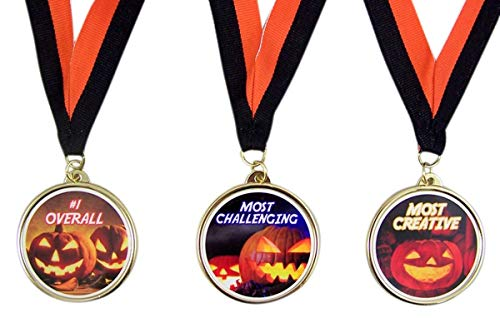 Halloween Party Trophy Award Medals for Pumpkin Carving or Costume Contest, Set of 3